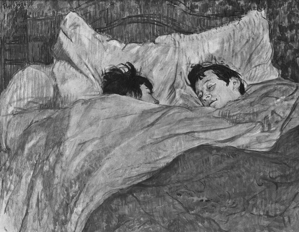 Toulouse-Lautrec: The Bed. Blanco y negro.