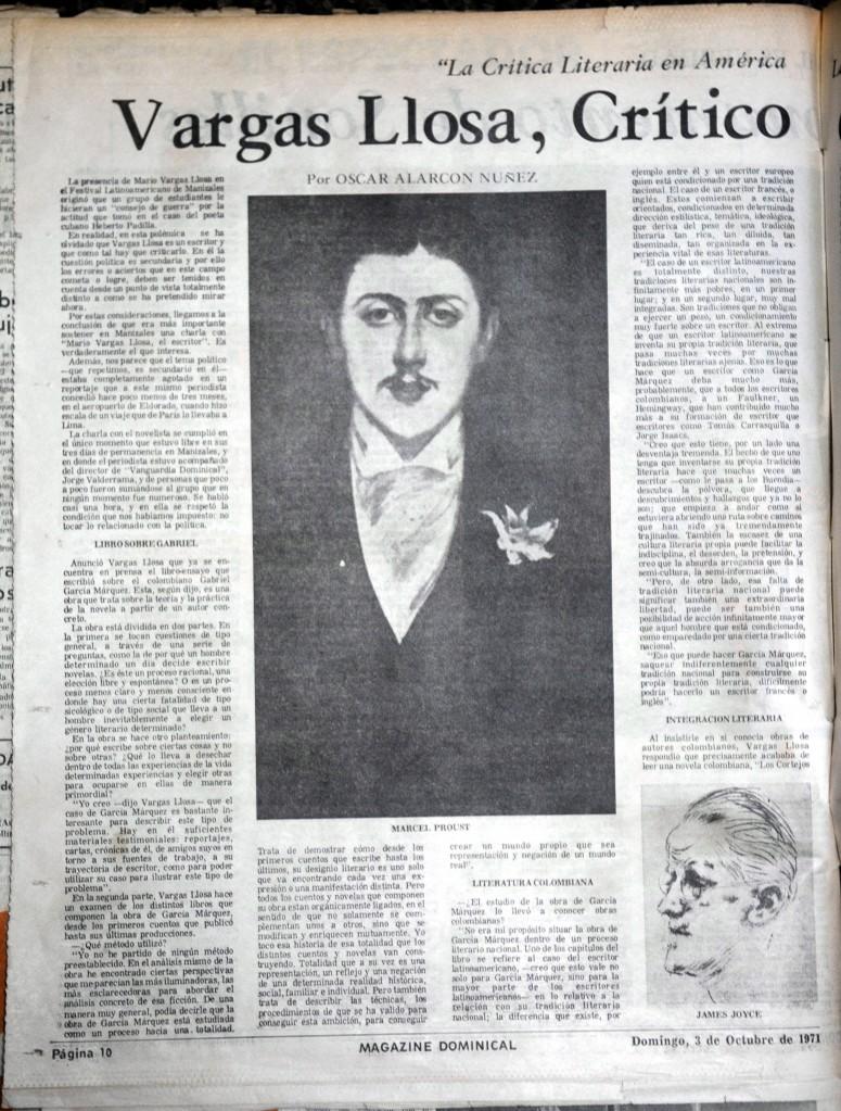 Artículo sobre Mario Vargas Llosa. El Magazín, 3 de octubre de 1971.
