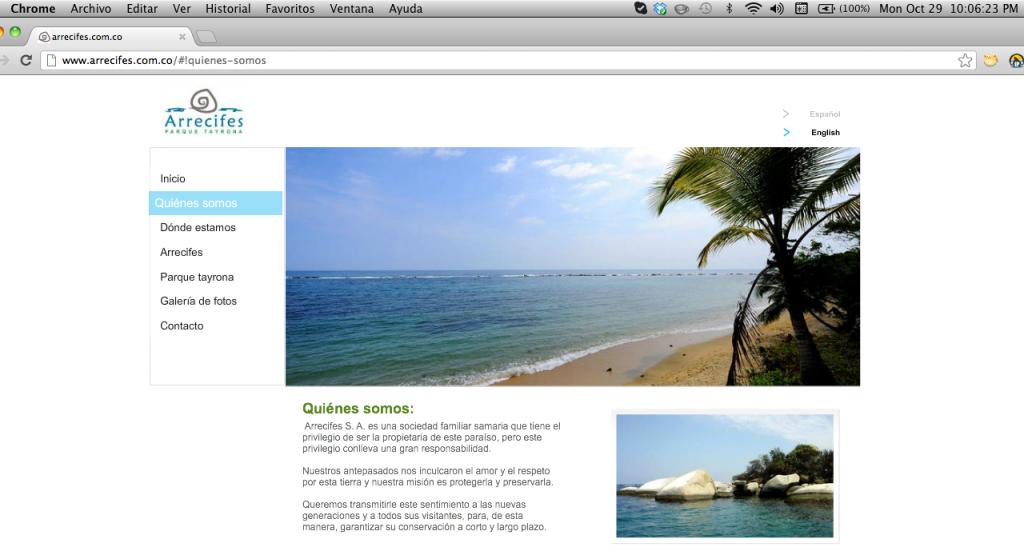 Portal Web de promoción del Hotel de Arrecifes S.A ubicado dentro del Parque Natural Nacional Tayrona