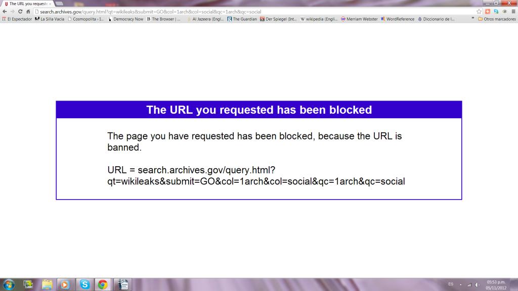 bloqueo de páginas de WikiLeaks en el Archivo Nacional de los Estados Unidos