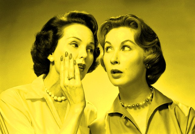 01 Aug 1956 --- 1950s 1960s two women gossiping one whispering into the other's ear --- Image by © ClassicStock/Corbis