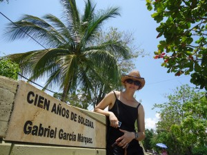 A monument to the work of Garcia Marquez, in Aracataca
