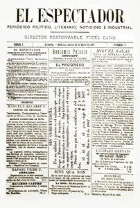"""Portada del primer número del periódico colombiano """"El Espectador"""", de 1887."""