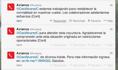 La respuesta que @Avianca dio a la Ministra. Qué piensas del manejo que dio la compañía?
