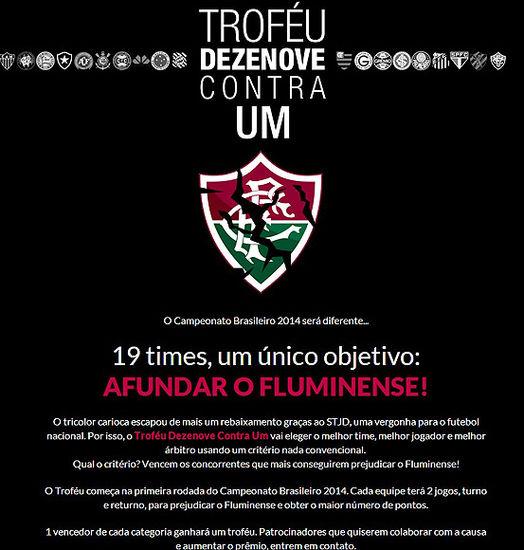 """Página web """"Diez y nueve contra uno"""" creada por hinchas inconformes para sabotear al Flu durante todo el 2014"""