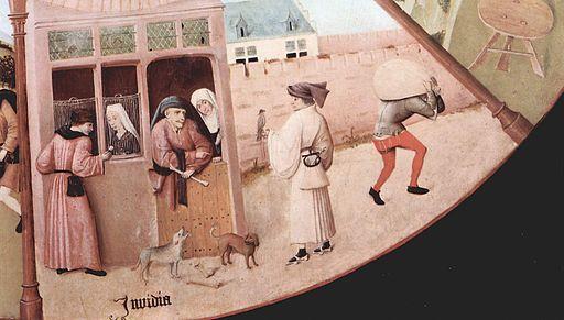 """Detalle de """"La mesa de los pecados capitales"""" - La envidia - El Bosco."""