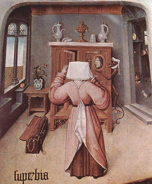 """Detalle de """"La mesa de los pecados capitales"""" - La soberbia - El Bosco."""