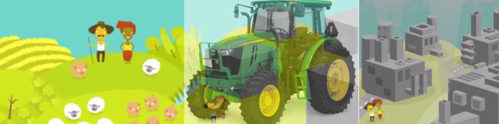 Tractor arrasando finca campesina y convirtiéndola en Industria.