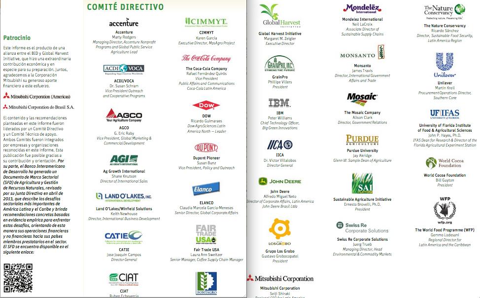 Multinacionales de la Agroindustria que son parte del comité directivo del informe del BID. Las más relevantes son Monsanto, Dupont, Dow, Unilever y otras.