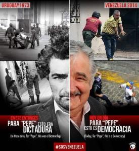 Para Pepe esto era dictadura - una de las imágenes que cuestiona la inconsistencia de los líderes de izquierda suramericanos