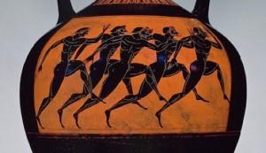 Antiguo vaso griego (525 antes de la era común) que representa a corredores olímpicos