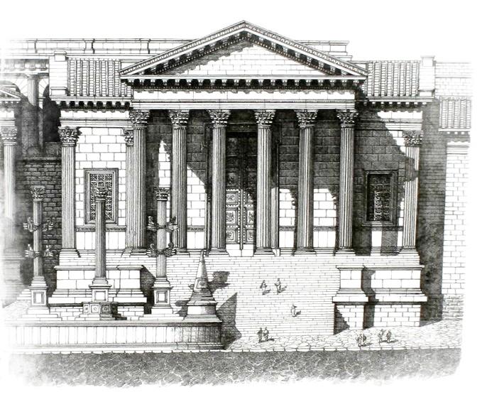 Reconstrucción del Templo de la Concordia en Roma - trabajo personal de Cassius Ahenobarbus, probablemente basado en el diseño de Jean Claude Golvin