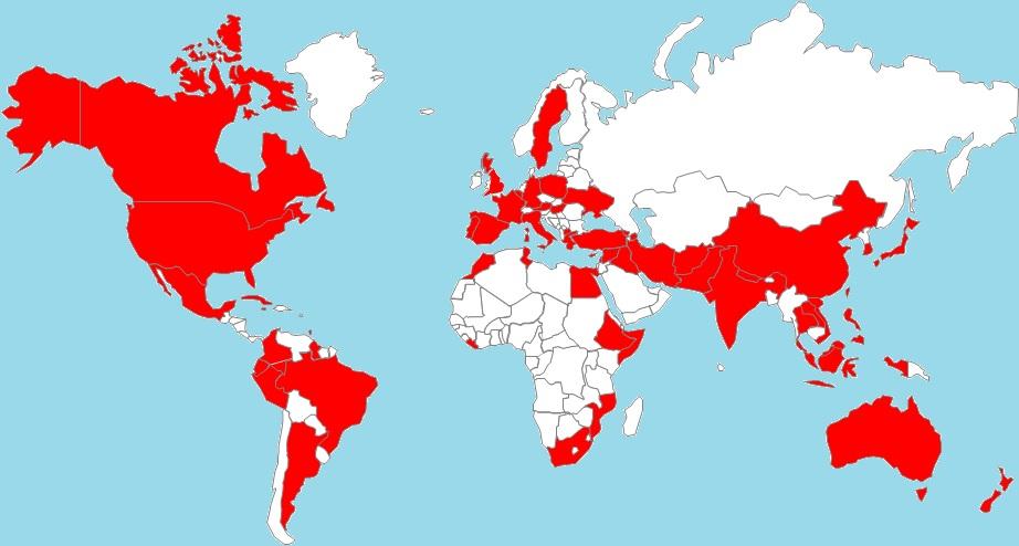 """""""Aquí está el gran tablero. Los países en rojo son aquellos para los que ya he encontrado un restaurante. Los Países en blanco... ustedes pueden hacer la recomendación"""""""