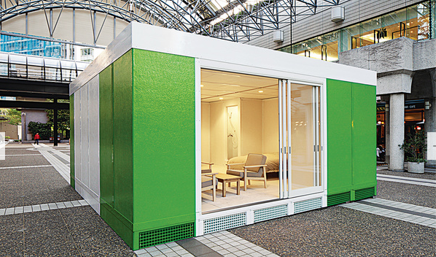 In 2013, Ban's office introduced its new disaster housing prototype, the New Temporary House, whose exterior is made of insulated sandwich panels and fiber-reinforced plastic.