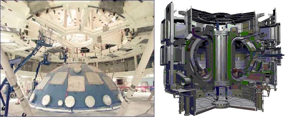 Los dos proyectos actualmente en desarrollo. El NIF (izquierda) y el ITER (derecha)