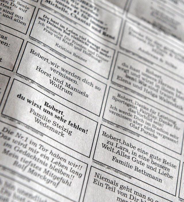 Página de obituarios del periódico alemán 'Hannover Allgemeinen Zeitung'.