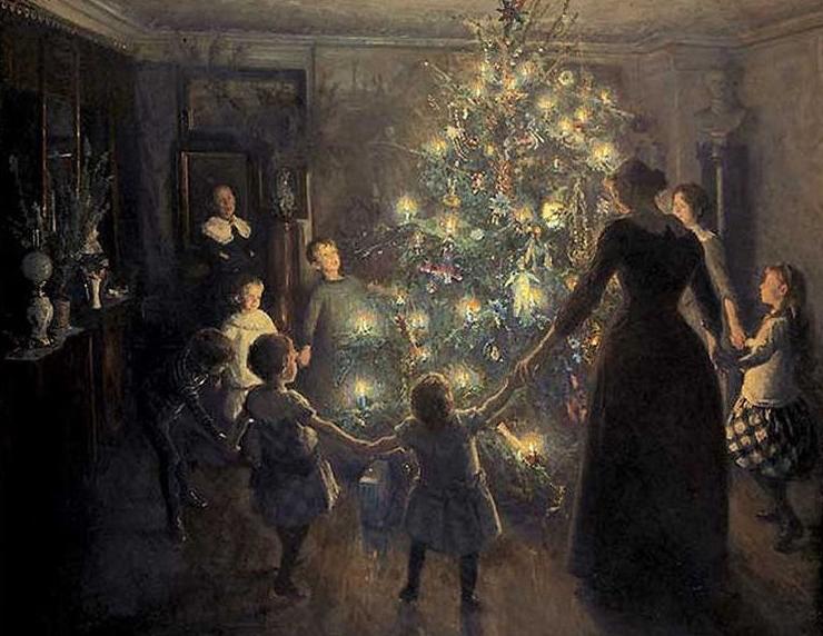"""""""Feliz Navidad"""" cuadro de Viggo Johansen (1891)"""