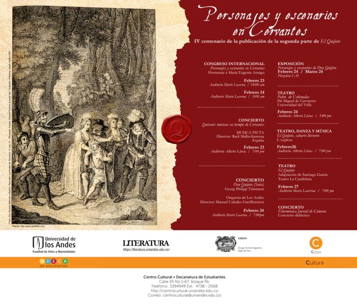 Afiche oficial de los eventos en la universidad, entre los que habrá, el día se hoy, conciertos y obras.