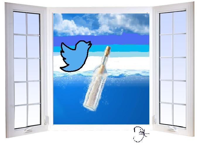 Twitter, mensaje en botella a través de la ventana