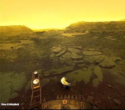 "única foto tomada de la superficie de Venus por la sonda soviética 'Venera"" antes de ser derretida por la atmósfera de Venus."