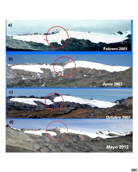 Glacial pastoruri en los Andes peruanos se ha derretido casi por completo durante la última década.
