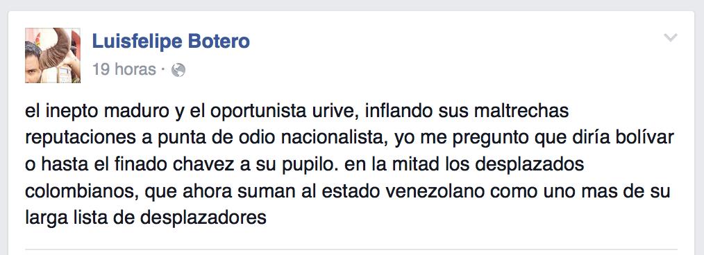Comentario en Facebook de Luis Felipe Botero