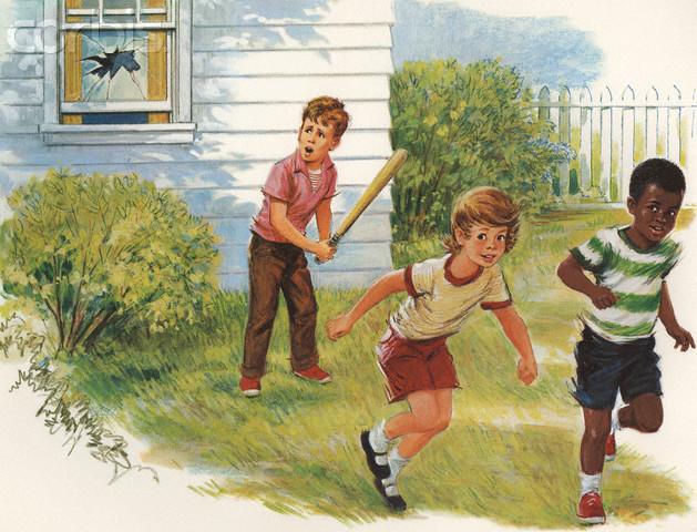 Illustration of Children Breaking Window During Baseball Game