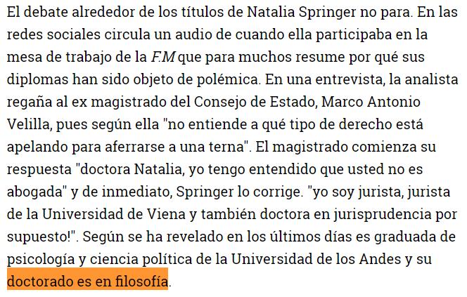 Natalia Springer, jurista doctora en jurisprudencia http://www.semana.com/Imprimir/443030