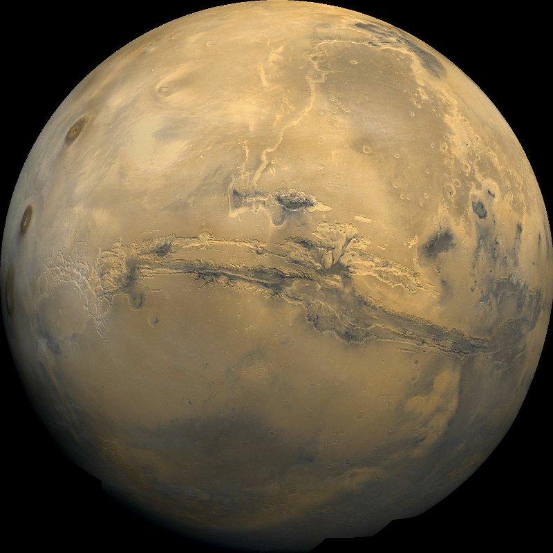 Imagen satelital de Marte donde se muestra el gran cañon marciano cientos de veces mayor que el cañon del colorado