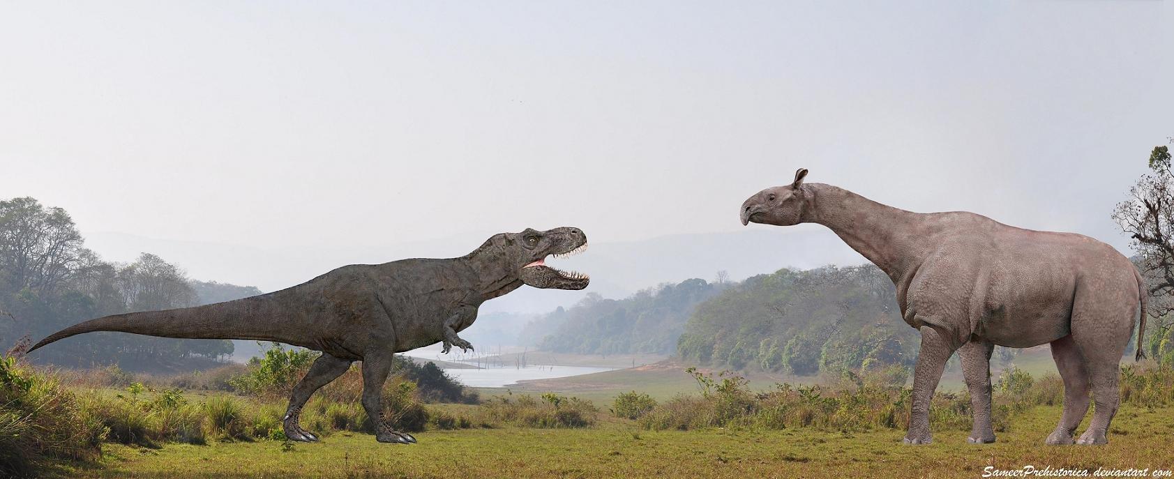 tyrannosaurus_rex_vs_paraceratherium_by_sameerprehistorica-d5p0aqb