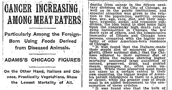 Un artículo de prensa de 1907 ya asociaba carne y cáncer.