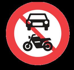 Prohibido el uso de vehículos con motor - Aviso en Dinamarca