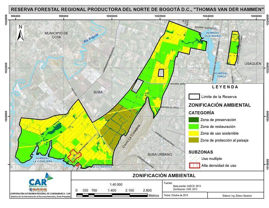 """Fuente: Plan de Manejo Ambiental de la Reserva Forestal Regional Productora del Norte de Bogotá D.C. """"Thomas van der Hammen"""""""