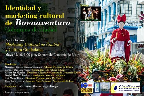 Afiche III Coloquio Marketing cultural y cultura ciudadana b