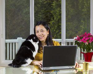 Mature woman Teleworking at home