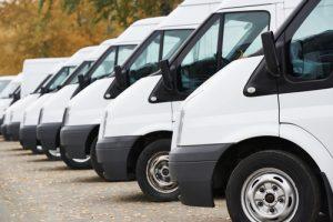 commercial vans in row