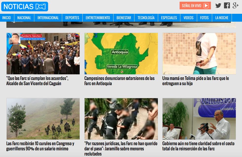 Pantallazo de la web de Noticias RCN el jueves 25 de agosto de 2016.