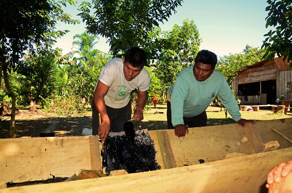 Demetrio Arce observa la construcción de una canoa el transporte principal de los Tsimanes de Torewa. Foto: Eduardo Franco.