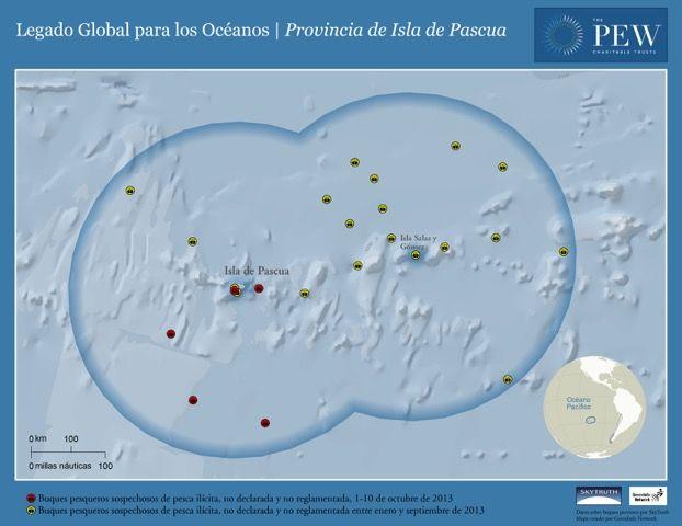 Mapa con embarcaciones sospechosas de pesca ilícita en los años 2012 y 2013. Imagen cedida por The PEW Charitable Trusts