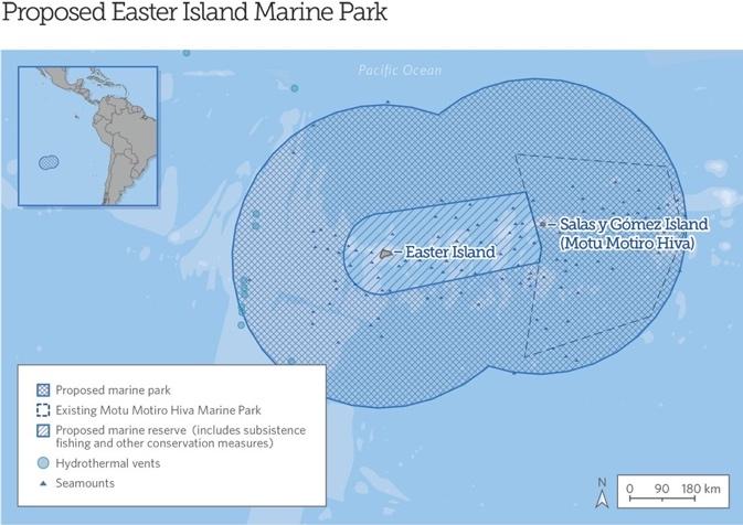 De aprobarse la propuesta, esta área marina protegida sería una de las más grandes de Sudamérica. Crédito de la imagen: The Pew Charitable Trusts
