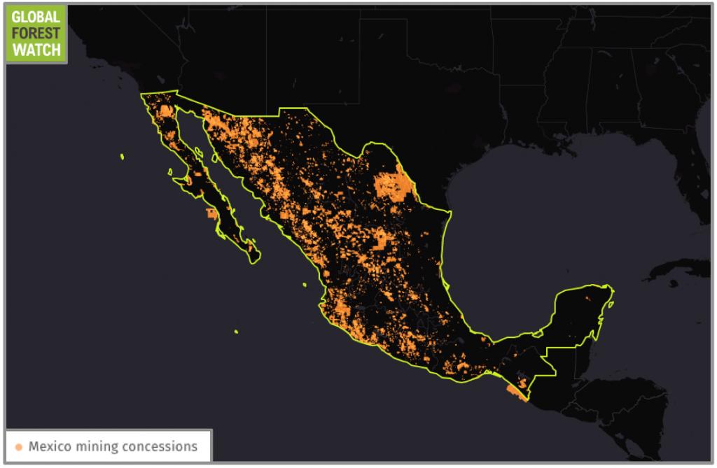 """Más del 18 por ciento del territorio mexicano ha sido asignado para actividades mineras. Fuente de datos: Secretaría de Economía. """"Concesiones mineras de México"""". Accedido a través de Global Forest Watch el 5 de agosto, 2016."""