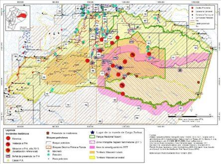 Mapa presentado en la CIDH. Imagen cedida por Eduardo Pichilingue.