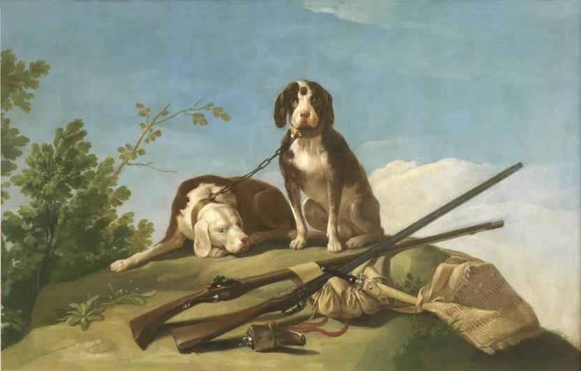 perros en trailla-Goya