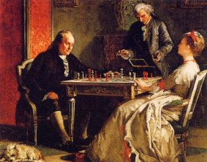 """""""Lady Howe haciendo jaque mate a Benjamin Franklin"""" (1867). Pintura de Edward Harrison May."""
