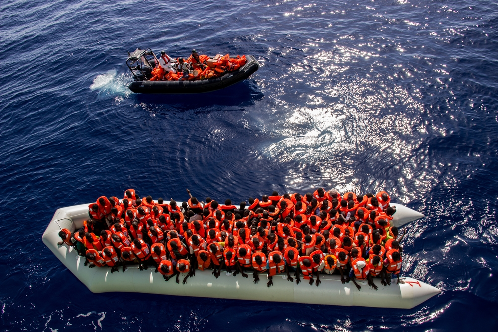 Medecins Sans Frontieres (MSF) and the Bourbon Argos 142 people are found in an overcrowded rubber boat in the Central Mediterranean, containing many women and children.