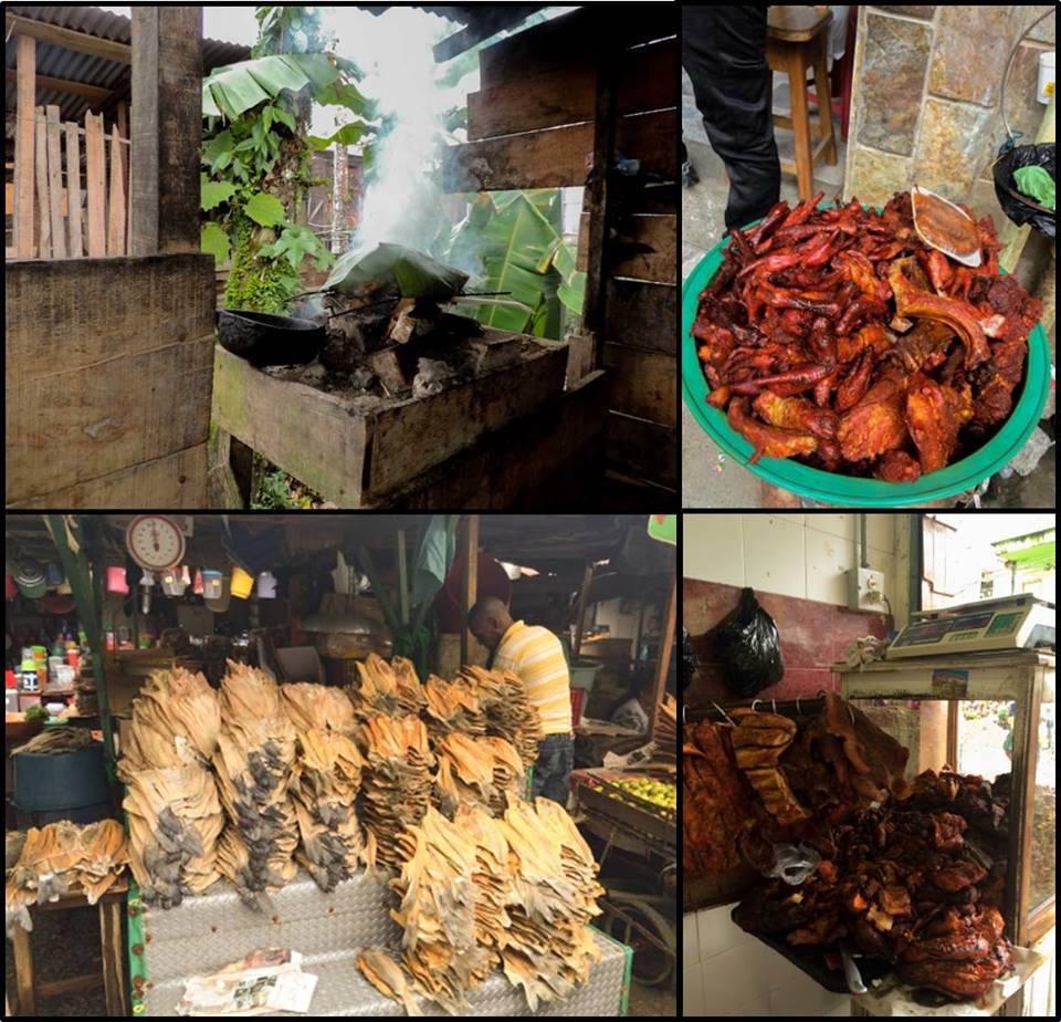 La venta de carne de monte en algunos mercados locales de Colombia es usual. Foto: Cifor.