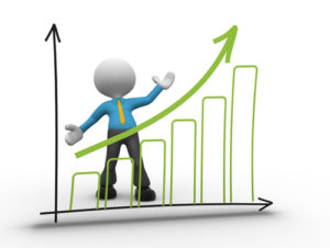 3d people - man, person doing a presentation a graph chart