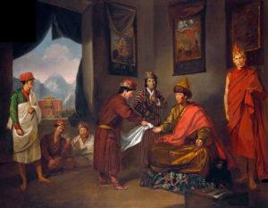 """""""El Panchen Lama recibe a George Bogle"""" (1775) del artista Tilly Kettle, que se refiere al diplomático escocés George Bogle, quien fue el primero en establecer relaciones con el Tibet, por parte de Occidente."""