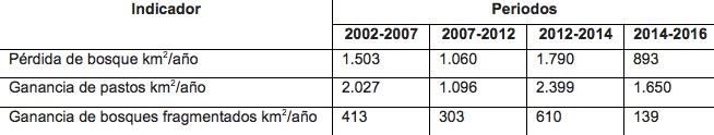 Cuadro comparativo de pérdida de bosques por períodos de tiempo y las principales causas. Fuente: Instituto Sinchi.
