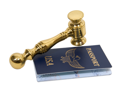 Blue passport needed when traveling between borders with a gold gavel - path included